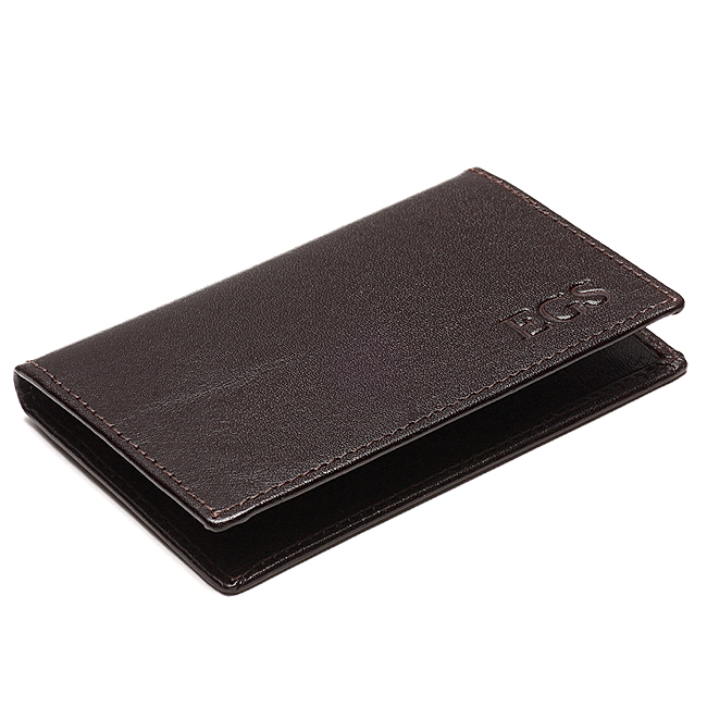 Personalized leather business credit card case free for Monogrammed leather business card holder