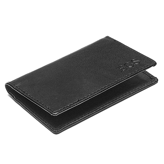Personalized leather business credit card case for Monogrammed leather business card holder