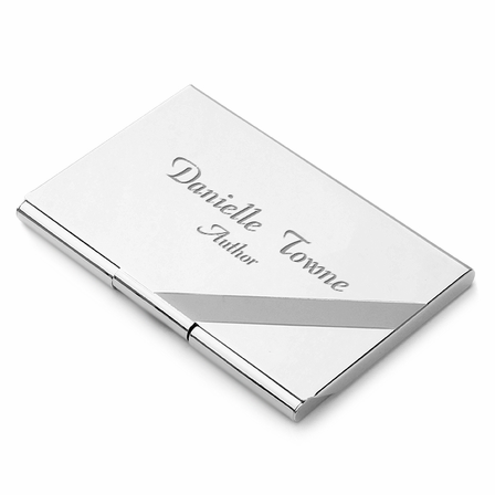Diagonal Line Engraved Silver Business Card Case
