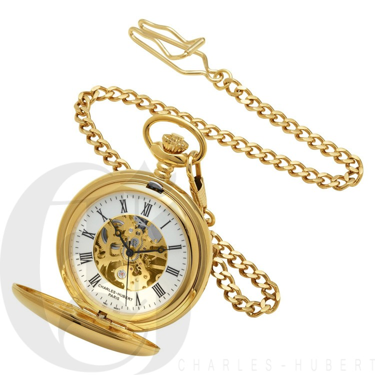 Dual Opening Gold Mechanical Pocket Watch & Chain ...