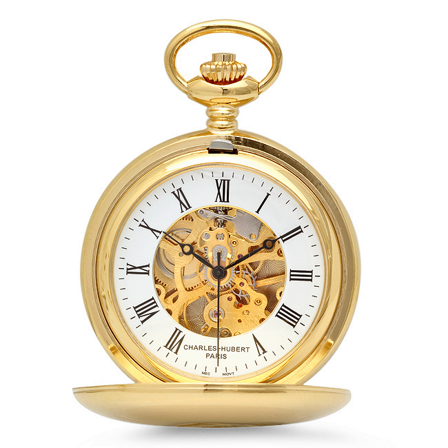 Dual Opening Gold Mechanical Pocket Watch Amp Chain