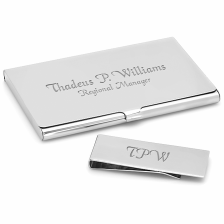 Polished business card holder money clip gift set executive gift engraved business card holder money clip gift set colourmoves
