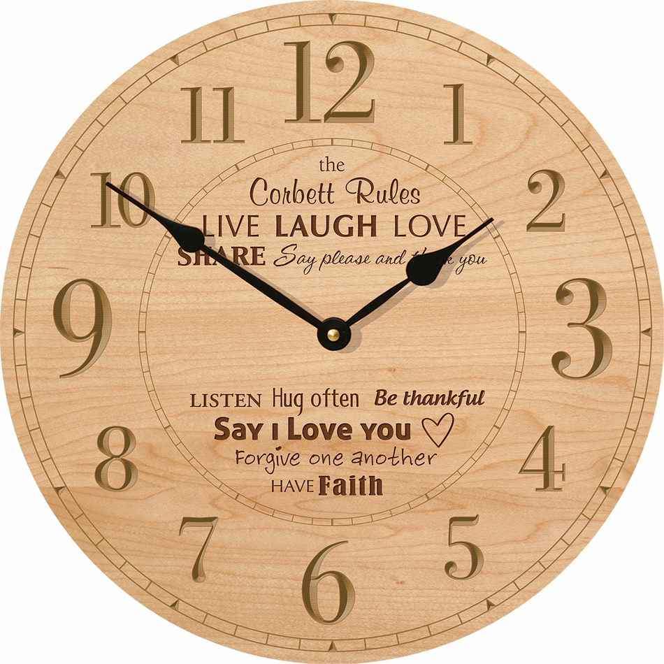 family rules personalized wall clock clocks. Black Bedroom Furniture Sets. Home Design Ideas
