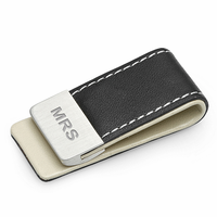 Faux Leather and Steel Engraved Money Clip