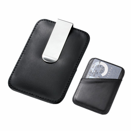 Faux Leather Engraved Money Clip Card Holder