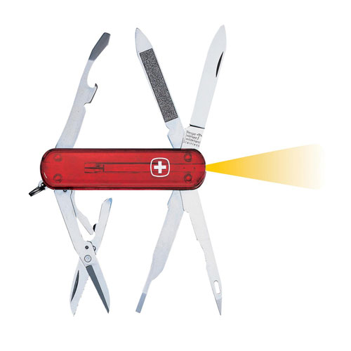 Fire Red Translucent Microlight Pocket Tool Chest Swiss