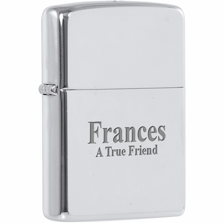 High Polish Chrome Engraved Zippo Lighter - ID# 250