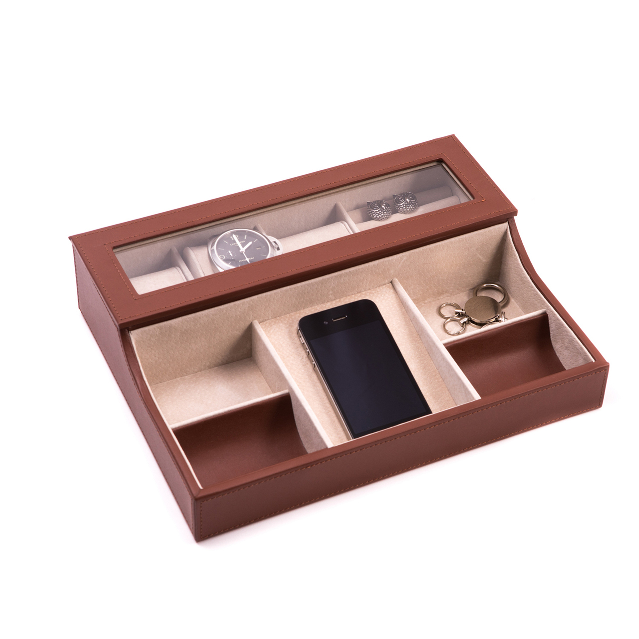 Leather Valet Box With Phone Tray Executive Gift Shoppe