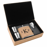 Light Brown & Black Roman Monogram Flask Set