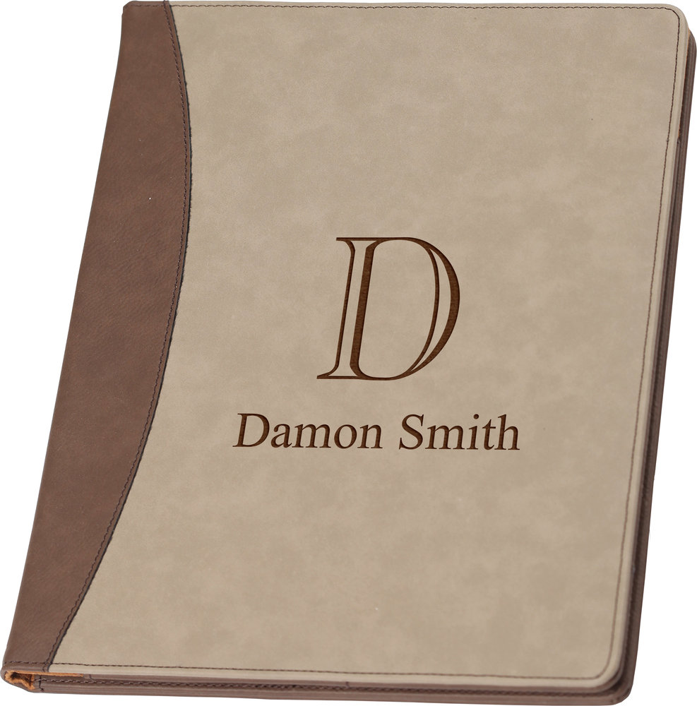 monogrammed brown  u0026 tan padfolio