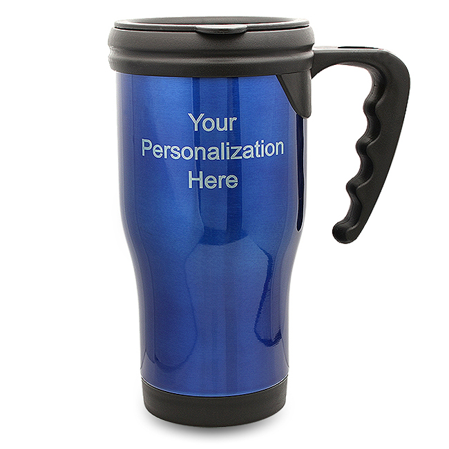 Personalized Blue Travel Coffee Mug With Handle