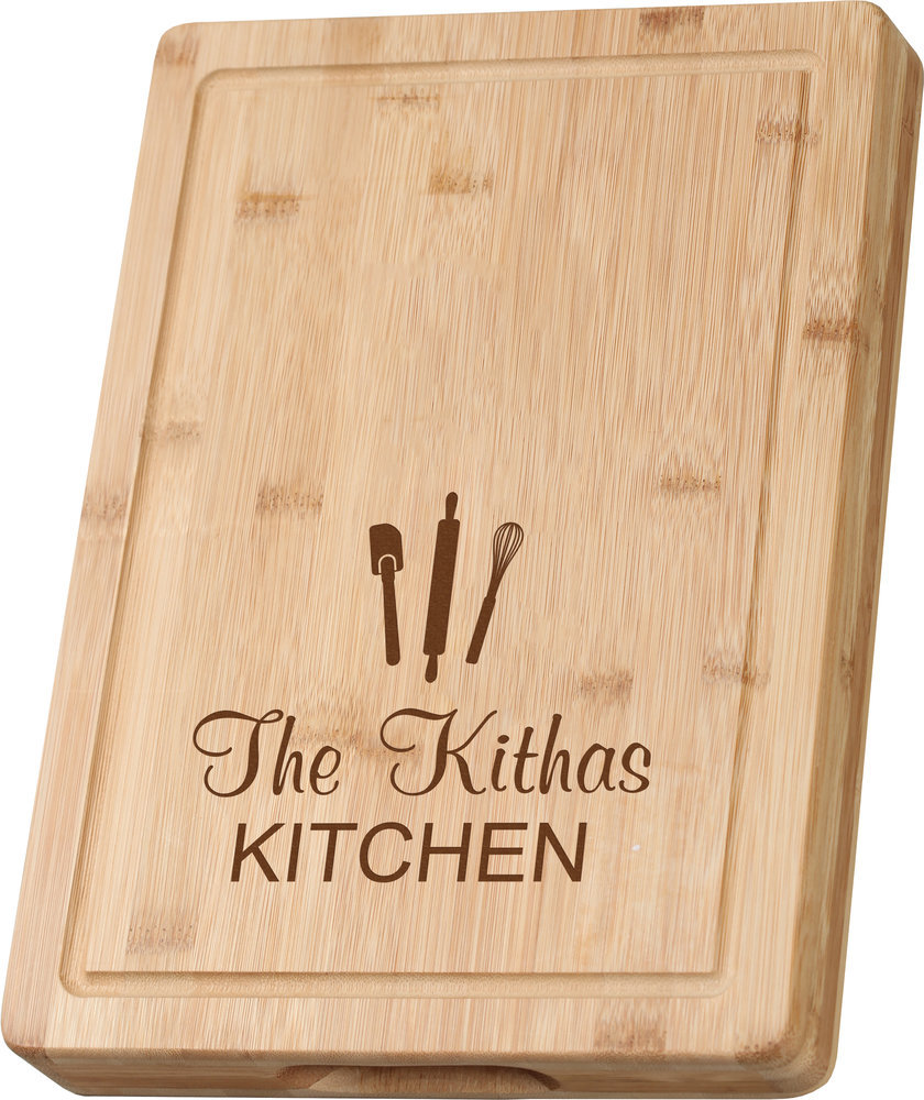 Personalized Kitchen Theme Grooved Bamboo Cutting Board Executive Gift Shoppe