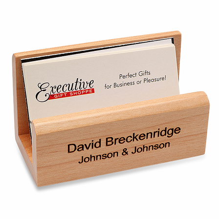 Personalized maple desktop business card holder executive gift shoppe personalized maple desktop business card holder colourmoves Image collections
