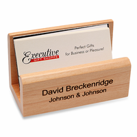 Personalized Maple Desktop Business Card Holder