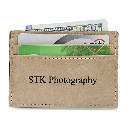 personalized tan leatherette money clip credit card holder - Personalized Card Holder
