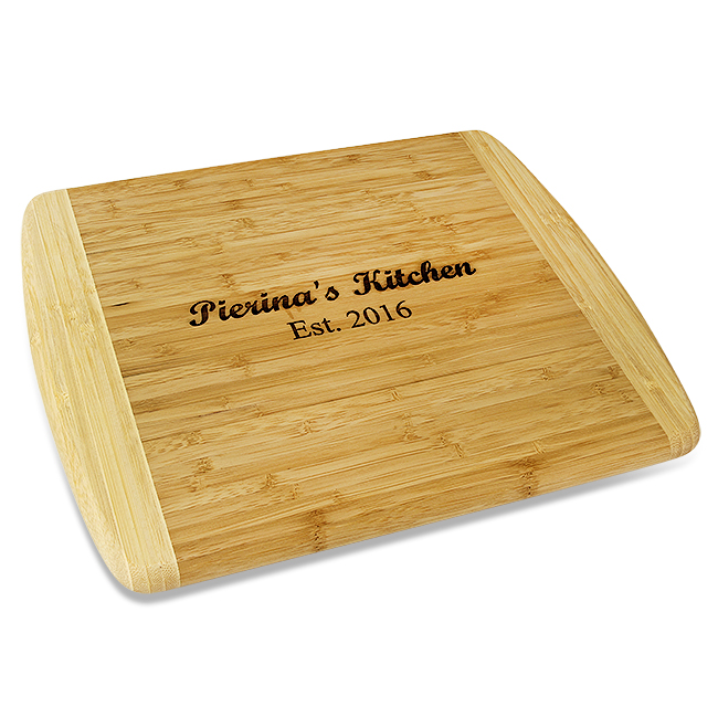 personalized two tone bamboo cutting board large executive gift shoppe. Black Bedroom Furniture Sets. Home Design Ideas