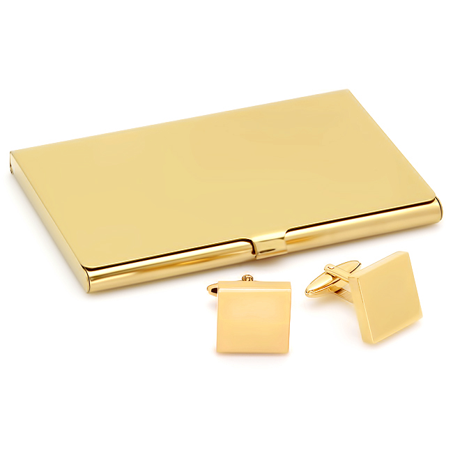 Business Gifts Collection: Polished Gold Engraved Business Card Holder & Cufflinks