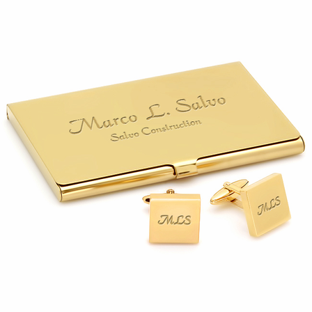Polished Gold Engraved Business Card Holder & Cufflinks Gift Set