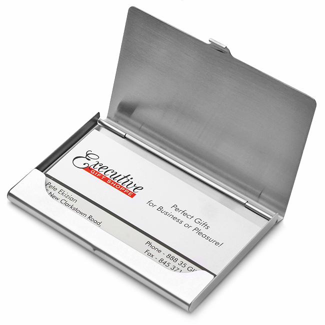 polished stainless steel business card holder  executive