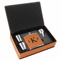 Rawhide & Black Roman Monogram Flask Set