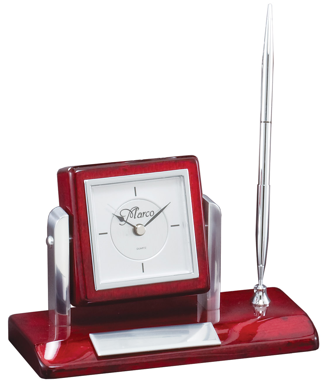 Rosewood Amp Silver Personalized Pen Stand Amp Clock