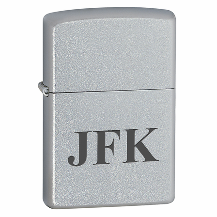 Satin Chrome Engraved Zippo Lighter - ID# 205