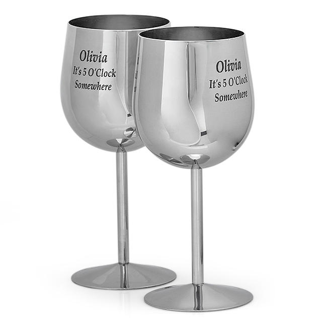 stainless steel wine glass set of 2 executive gift shoppe. Black Bedroom Furniture Sets. Home Design Ideas