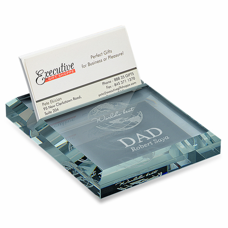 World's Best Dad Crystal Business Card holder & Paperweight