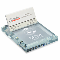 World's Best Mom Crystal Business Card Holder & Paperweight