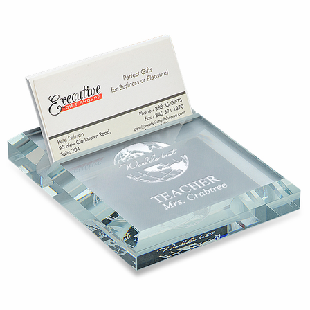 World's Best Teacher Crystal Business Card holder & Paperweight