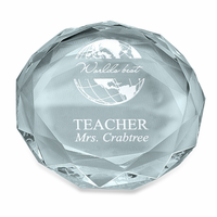 World's Best Teacher Round Glass Paperweight