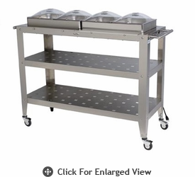 """Broilking Professional Grand Size Warming Cart w/ 4 """"1/2"""" Size Pans & Lids"""