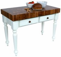 "John Boos  Rustica 48"" Walnut Table With Alabaster Base"