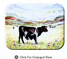"""McGowan Mfg TUFTOP Tempered Glass  Cutting Board Cow and Calf Small 9"""" X 12"""""""