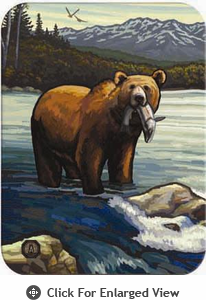 """McGowan Mfg TUFTOP Tempered Glass Cutting Board Grizzly with Fish Small 9"""" X 12"""""""