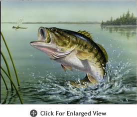 """McGowan Mfg TUFTOP Tempered Glass Cutting Board Large Mouth Bass Small 9"""" X 12"""""""