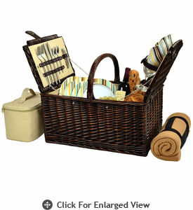 Picnic at Ascot Buckingham Picnic Basket for 4  w/ Blanket Santa Cruz Stripe