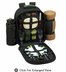 Picnic at Ascot Deluxe Equipped Picnic Backpack for 2 w/ Blanket Forest Green