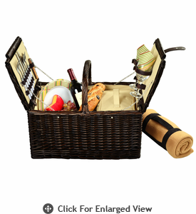 Picnic at Ascot Surrey Picnic Basket for 2 w/ Blanket Hamptons