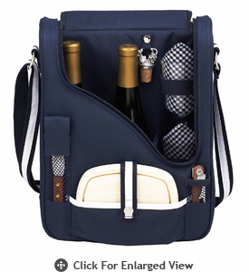 Picnic at Ascot Wine Cheese Cooler Bag Glasses for 2 Navy Blue