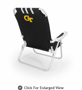 Picnic Time Monaco Beach Chair - Black Georgia Tech Yellow Jackets
