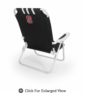 Picnic Time Monaco Beach Chair - Black Stanford University Cardinal
