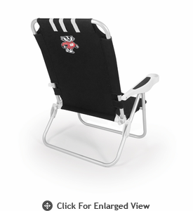 Picnic Time Monaco Beach Chair - Black University of Wisconsin Badgers