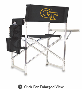 Picnic Time Sports Chair - Black Embroidered Georgia Tech Yellow Jackets