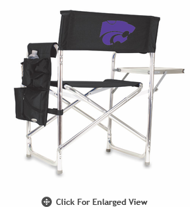 Picnic Time Sports Chair - Black Embroidered Kansas State Wildcats