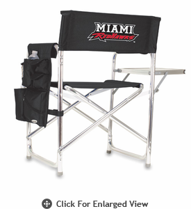 Picnic Time Sports Chair - Black Embroidered Miami University Red Hawks