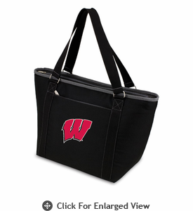 Picnic Time Topanga Embroidered - Black Tote University of Wisconsin Badgers