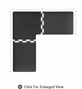Wellness Mats 7' x 7' PuzzlePiece 3' Wide L Series (3-Piece Corner Mat Set) Black