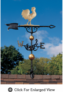 """Whitehall Traditional Directions Collection 46"""" Full Bodied Gold Bronze Rooster Weathervane"""