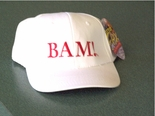 "Emeril White Baseball Cap with ""Bam!"" Embroidered in Red"